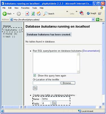 membuat tabel database di PhpMyadmin