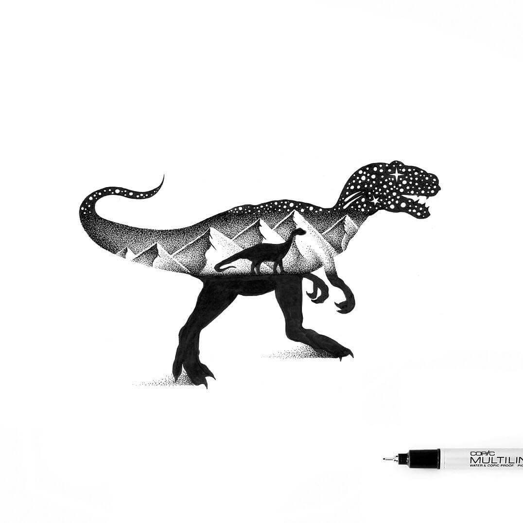 06-T-Rex-and-Apatosaurus-Dinosaurs-Thiago-Bianchini-Ink-Animal-Drawings-Within-a-Drawing-www-designstack-co