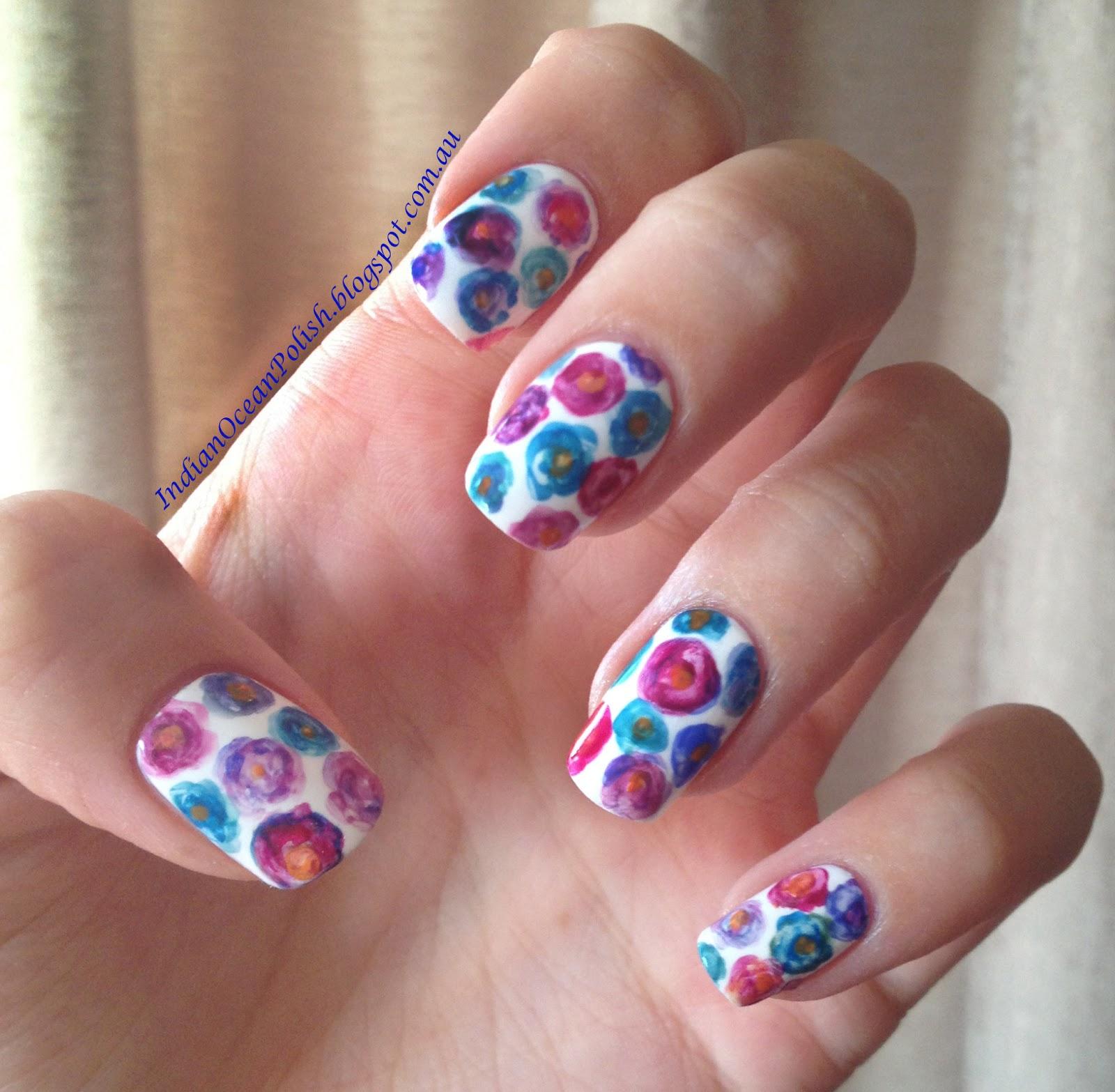 Flower Nail Art: Indian Ocean Polish: Simple Watercolour Flower Nail Art