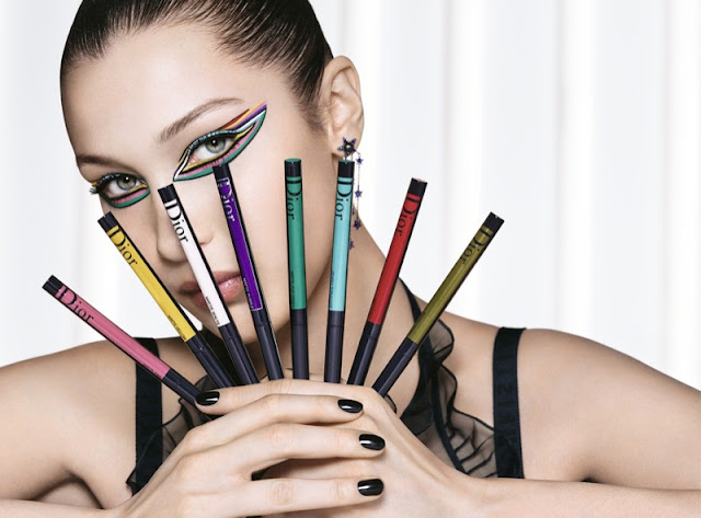 Bella Hadid poses with Diorshow On Stage Liner by Dior