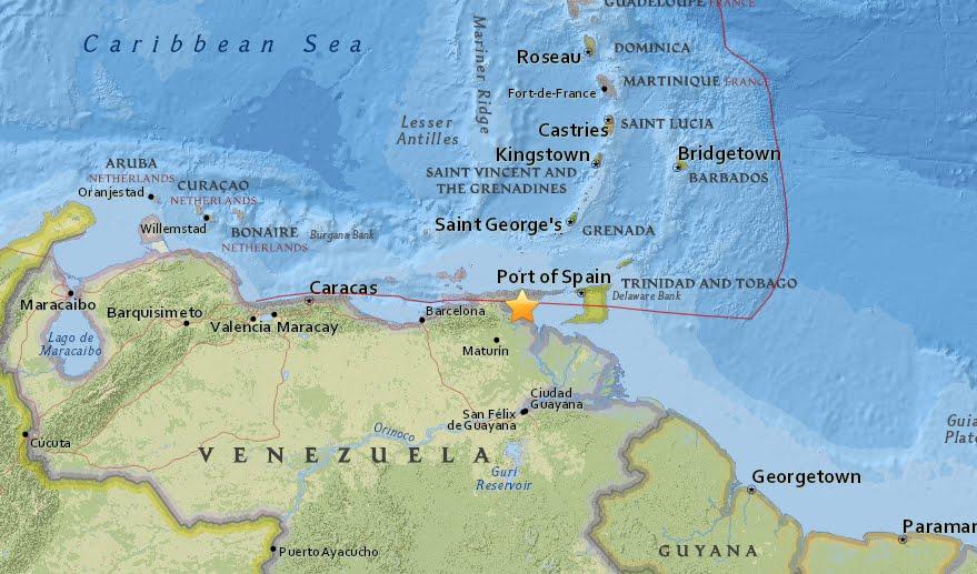 Violenta scossa di terremoto in Venezuela di magnitudo 7,3 in mare.