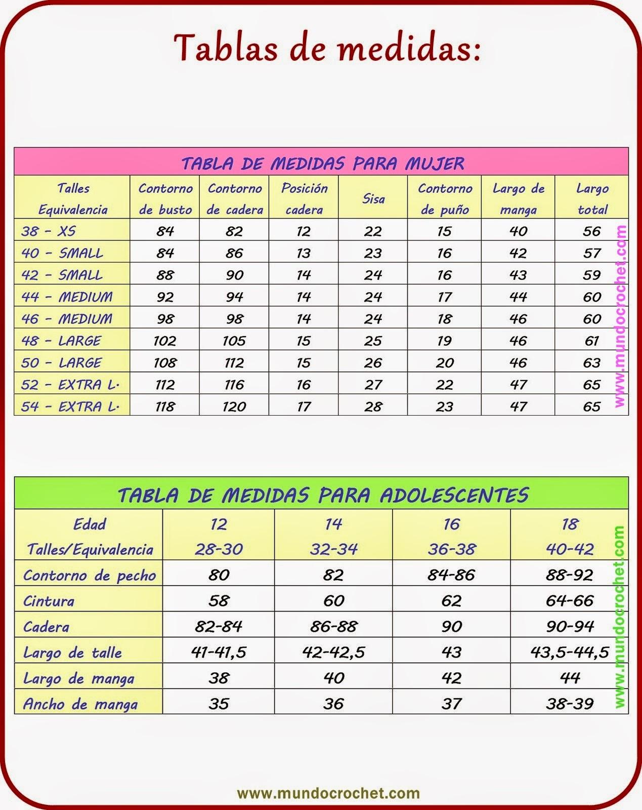 tabla de medidas para adolescentes