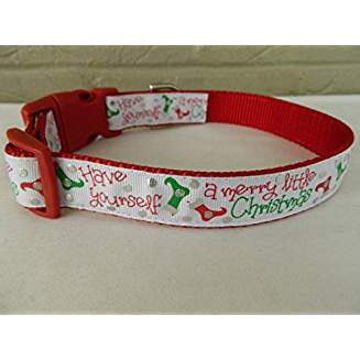 Have Yourself a Merry Little Christmas dog collar and leash #haveyourselfamerrylittlechristmas #christmasmusic #learnyourchristmascarols #doggychristmas #christmasgifts Available on Amazon
