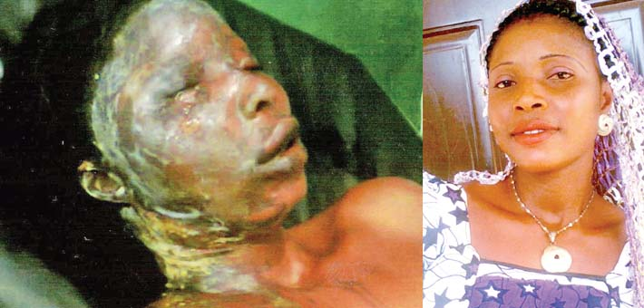 husband bathes wife acid kogi