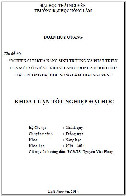 Nghiên cứu khả năng sinh trưởng và phát triển của một số giống khoai lang trong vụ Đông 2013 tại trường Đại học Nông Lâm Thái Nguyên