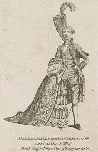 Caricature of the Chevalier d'Éon dressed half in women's clothing and half in men's, London Magazine, 1777