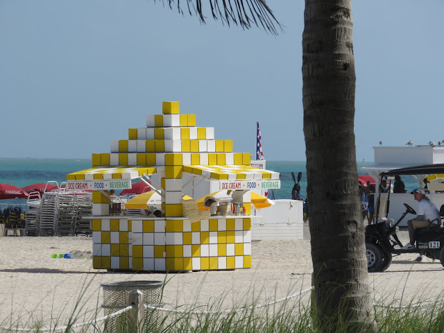 Yellow and white tiled lifeguard station on Miami South Beach