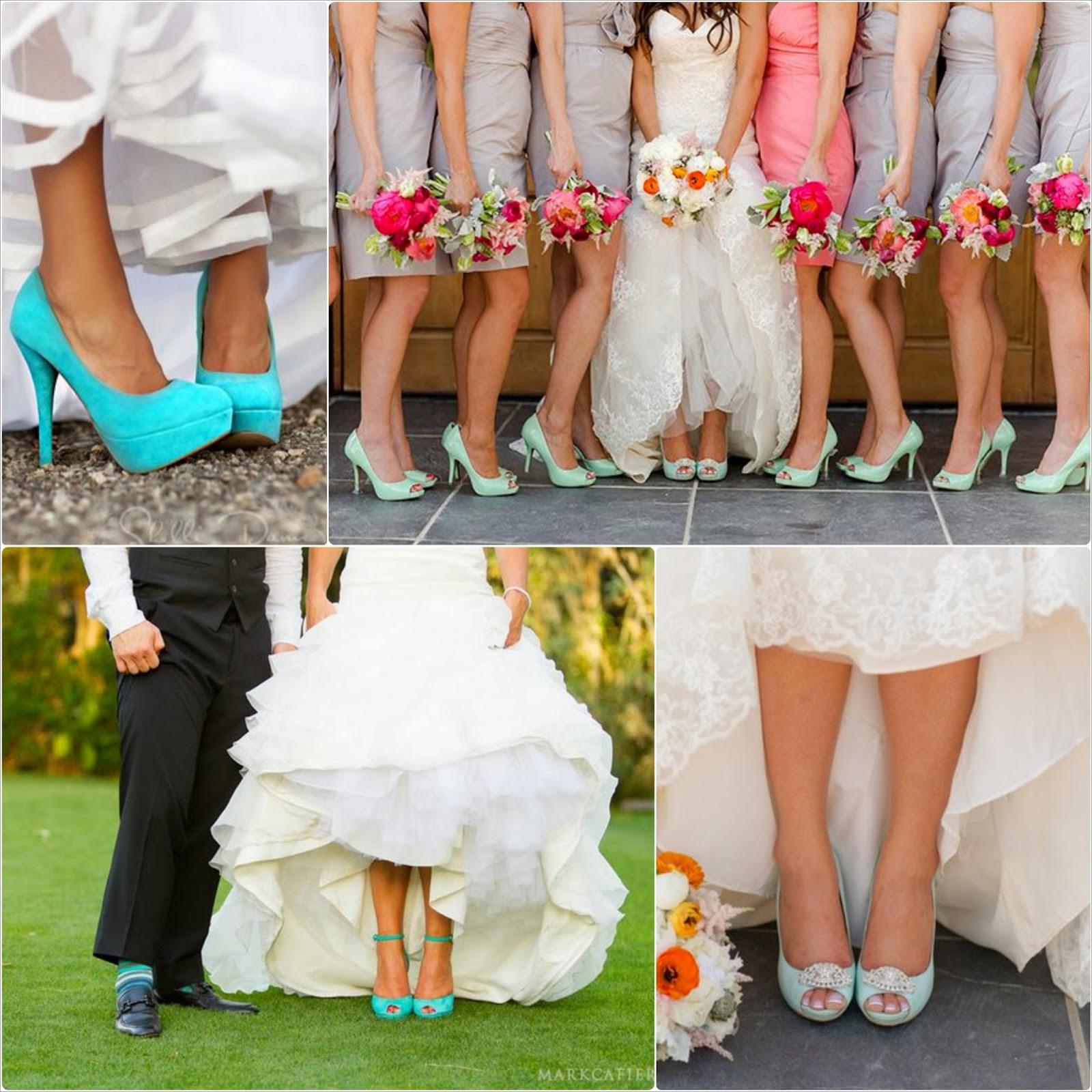 Zapatos de boda para novia en mint y azul Tiffany