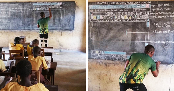 Richard Appiah Akoto, teacher in Ghana teaching Microsoft Word