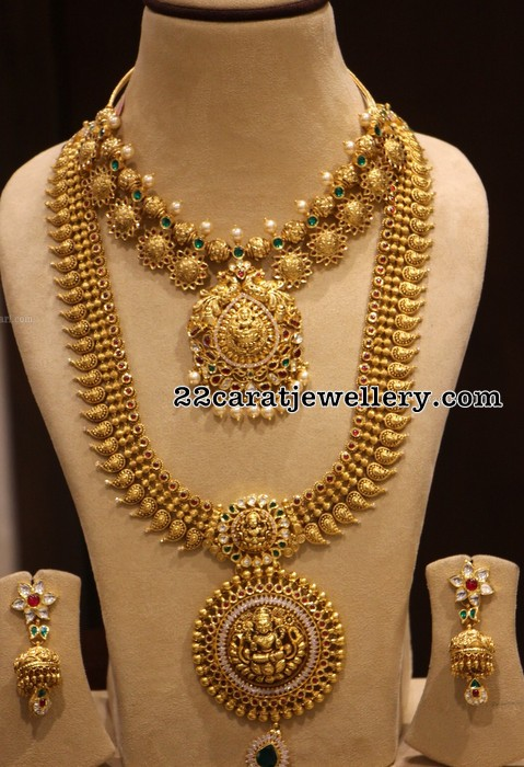 Gold Floral Necklace Lakshmi Long Set