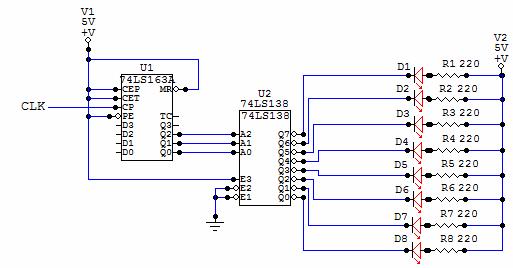digital led chaser circuit diagram
