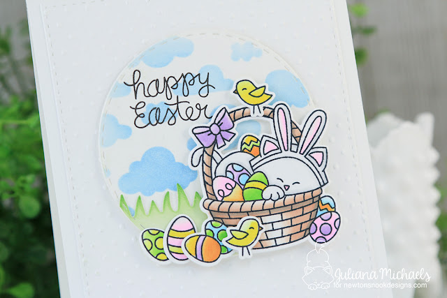 Happy Easter Stenciled Background by Juliana Michaels featuring Newton's Nook Designs Newton's Easter Basket Stamp Set and Cloud Sky Stencil