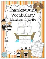 Thanksgiving Vocabulary Match & Write