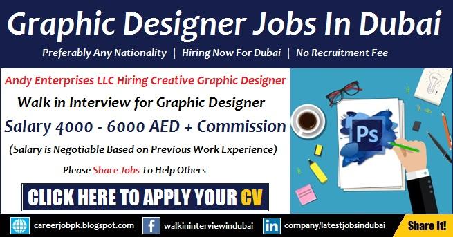 Graphic design salary  Graphic Designer Walk in Interview Jobs in Andy Enterprises LLC Dubai