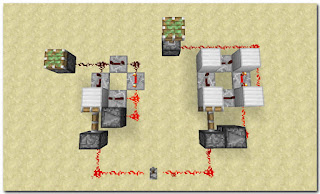 Minecraft Redstone Circuit リピーターを4つ使ったクロック回路2