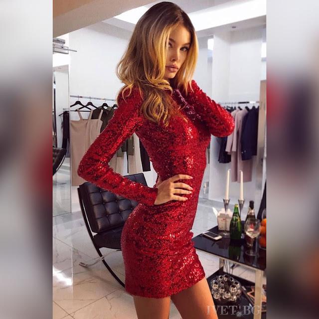 Μακρυμάνικο κοντό κόκκινο φόρεμα DEVONA