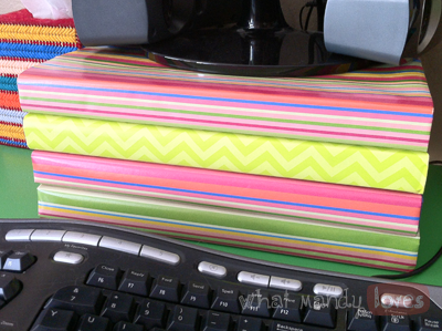 Lovely Tip #7: Wrapping Paper on Office Supplies (June's Office Theme) via www.whatmandyloves.com