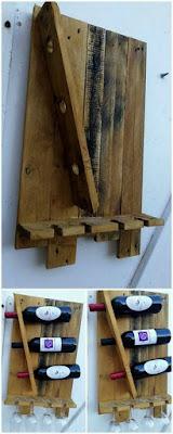 mini bodega para vinos con pallets de madera desarmados