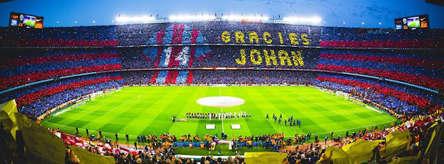 Gràcies Johan‬ Cruyff coregrafie tribune Camp Nou omagiu pentru Cruyff la meciul Barcelona Real Madrid 1-2 2 aprilie 2016 Camp Nou rezumat video barcelona vs real madrid 1-2 toate golurile meciului youtube