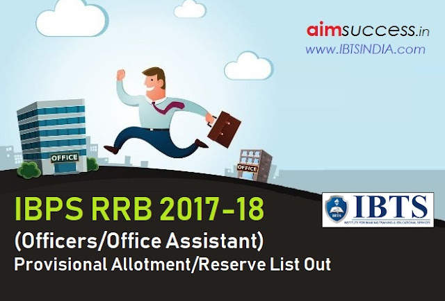 IBPS RRB Provisional Allotment Reserve List 2017 Out