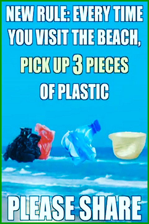 New Rule: Every Time You Visit The Beach, Pick Up 3 Pieces of Plastic. PLEASE SHARE THIS! MAKE IT YOUR OWN! I DON'T CARE! JUST PLEASE SHARE! #protect #save #care #oceans #earth #home