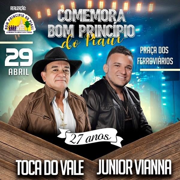 Dia 29 de abril tem TOCA DO VALE no aniversário da cidade de Bom Principio do Piauí; VÍDEO