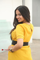 Actress Poojitha Stills in Yellow Short Dress at Darshakudu Movie Teaser Launch .COM 0317.JPG