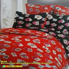 Sprei Custom Katun Lokal Dewasa Black Jack Pattern Merah Hitam