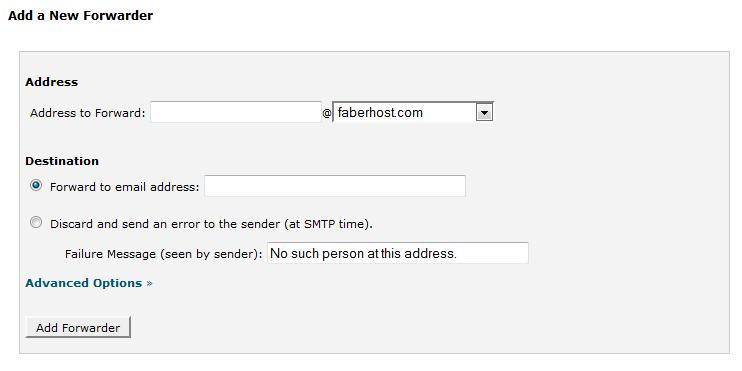 halaman penambahan email forwarders - faberhost.com