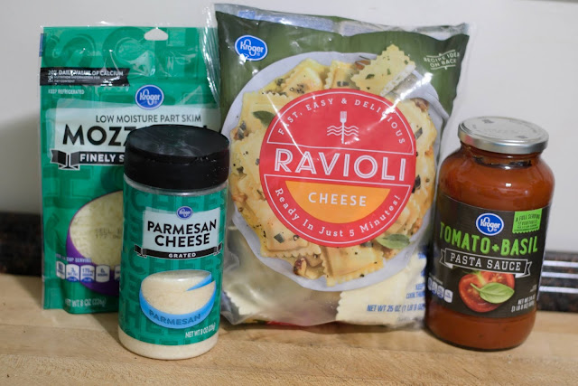 The ingredients needed to make the easy baked ravioli recipe.