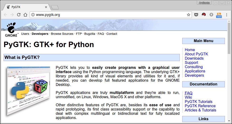 Website PyGTK