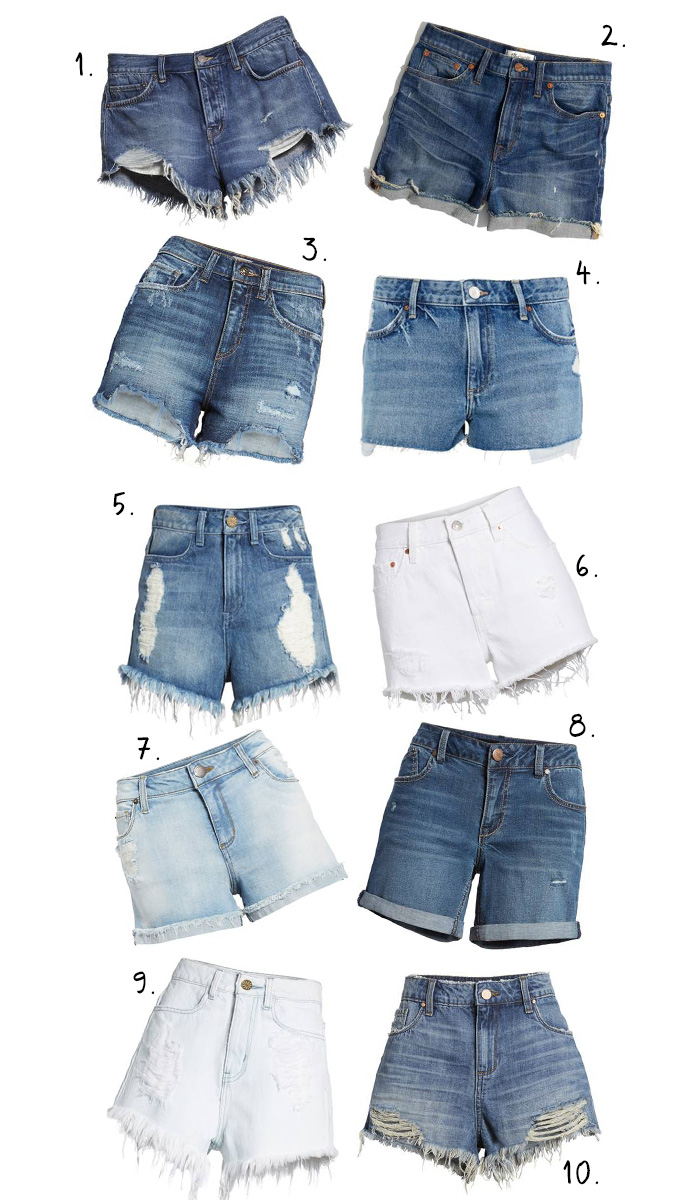 ten denim shorts under $100