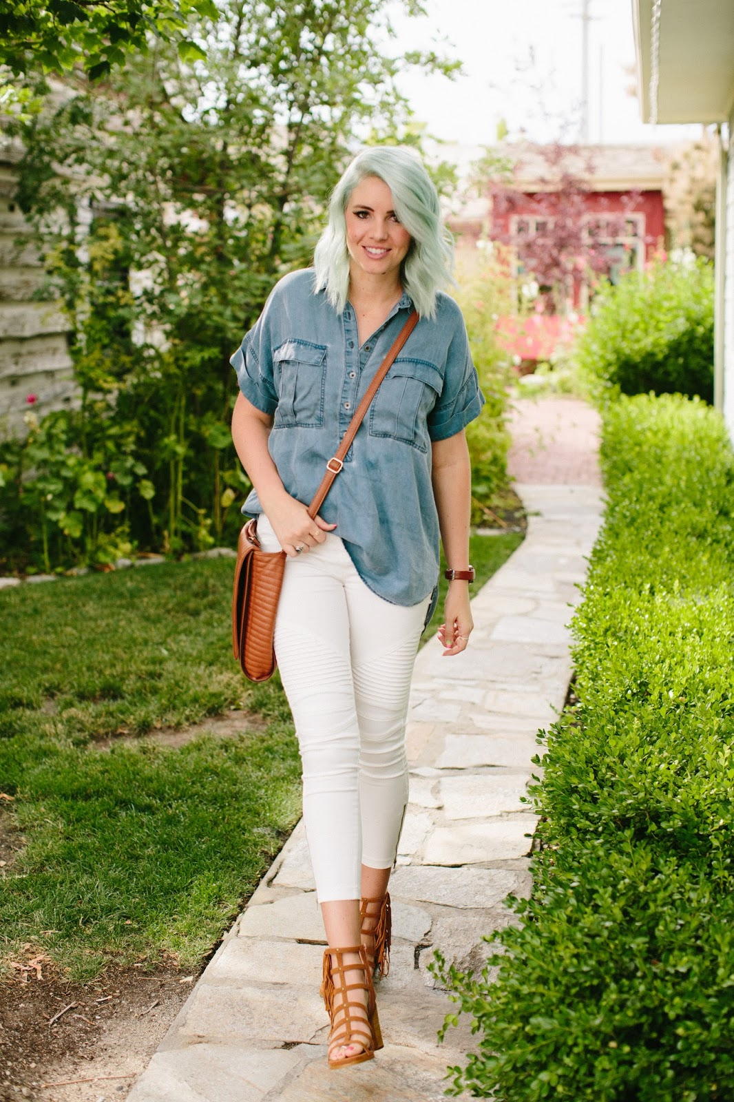 denim top, white jeans, utah blogger