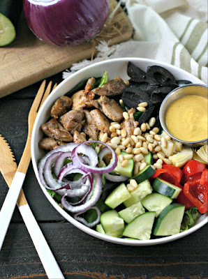 Mediterranean Chicken Bowl with Turmeric Tahini Dressing from Everyday Maven featured for Low-Carb Recipe Love on Fridays (7-22-16) found on KalynsKitchen.com