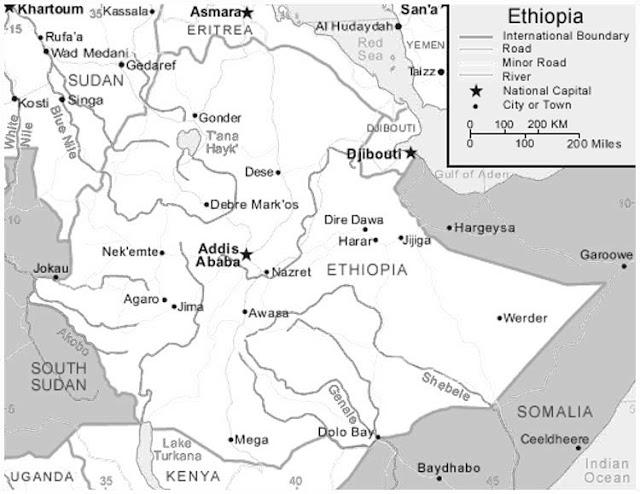 image: Black and white Ethiopia Map