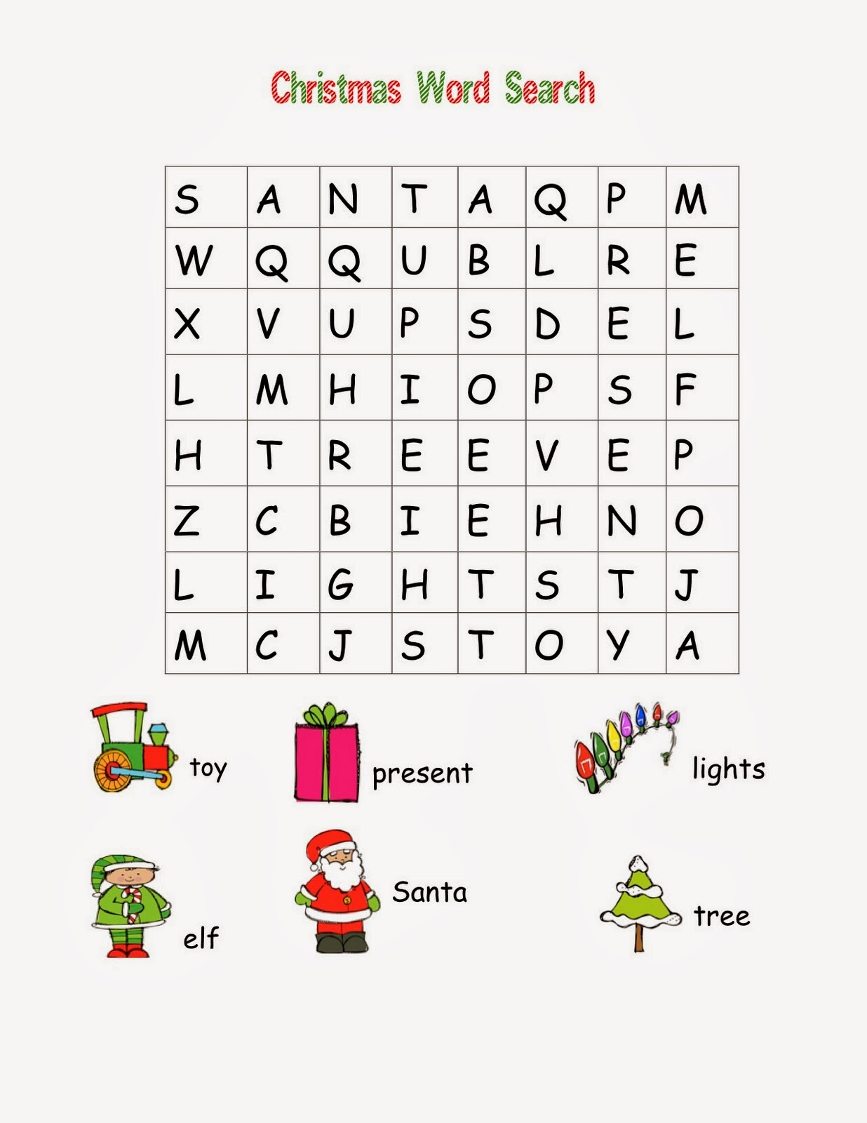 Easy Christmas Word Search Puzzles Merry And Happy New