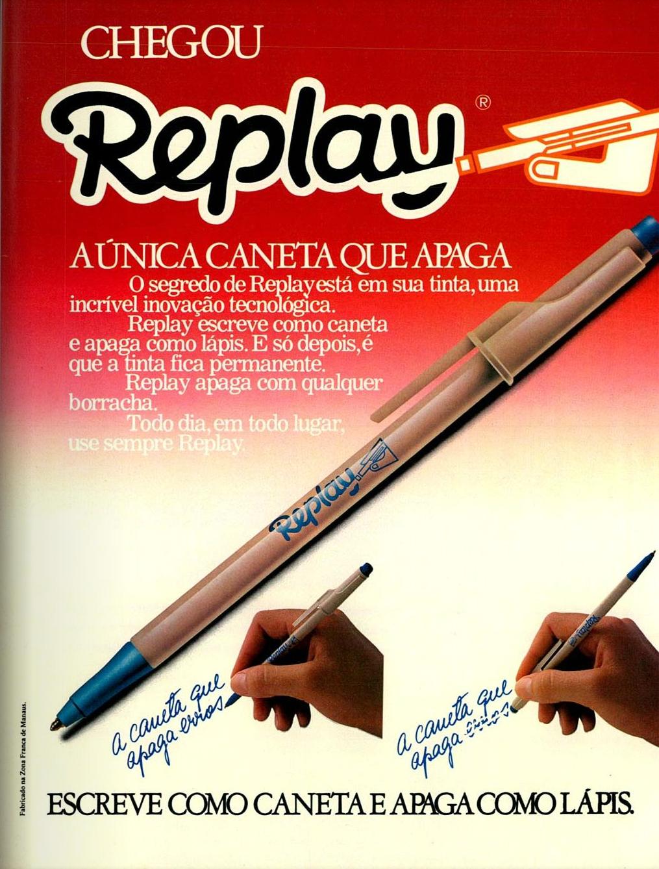 Propaganda da Caneta Replay veiculada em 1983 que prometia apagar escritas feitas por caneta