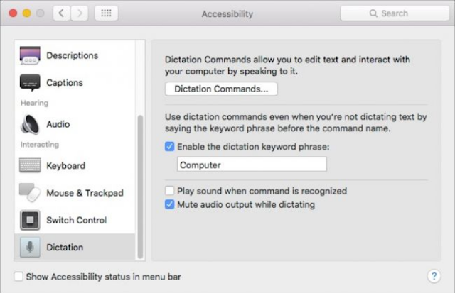 cara supaya mac bisa di beri perintah suara