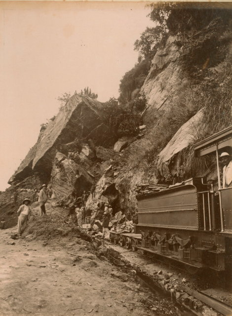 Huge Chunk of Rock on the Kandy Railway - Ceylon (Sri Lanka) c1875