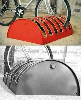 estacionamiento de bicicletas con tanque de acero reciclado