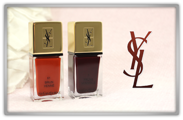 Yves Saint Laurent La Laque Couture 61 Brun Henne & 7 Prune Minimale Review YSL beauty blog blogger western high end nail polish