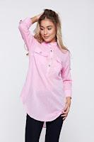 Bluza dama PrettyGirl roz casual din bumbac cu croi larg