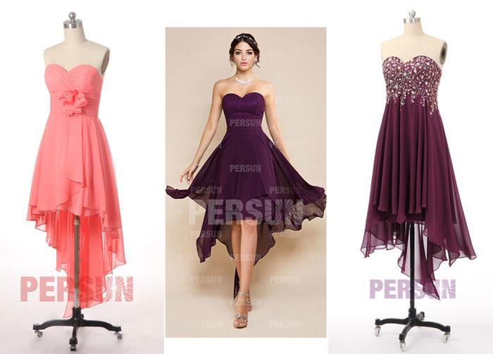 robes de soirée courte devant longue derrière bustier coeur