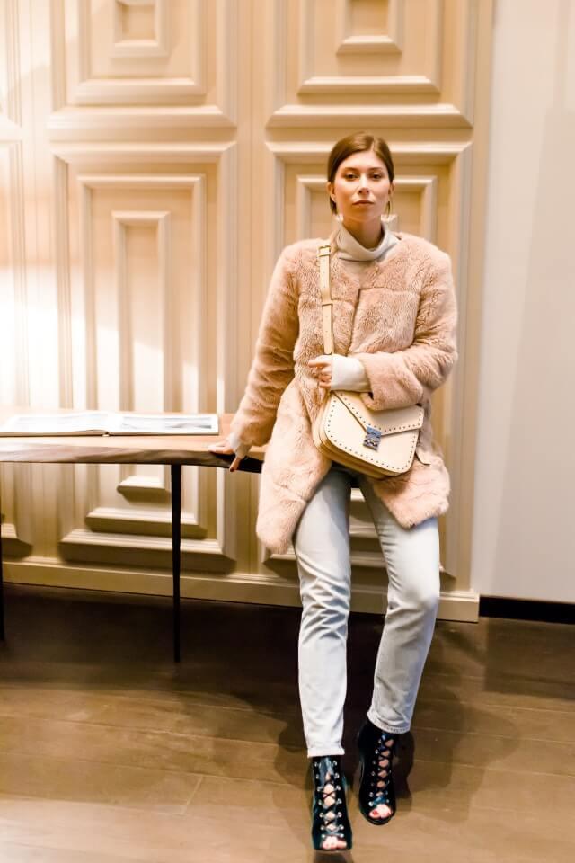abrigo de pelo faux fur coat beige
