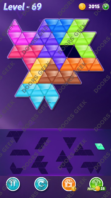 Block! Triangle Puzzle 10 Mania Level 69 Solution, Cheats, Walkthrough for Android, iPhone, iPad and iPod