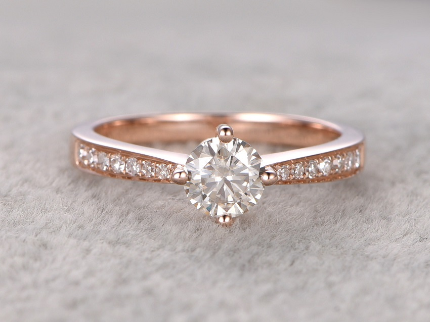 Simple Tips in Buying Couple, Promise, Engagement and Wedding Rings | Moissanite Engagement Rings: 5mm Round Cut Moissanite and Diamond Engagement Ring 14k Rose gold Classic 4-Prongs