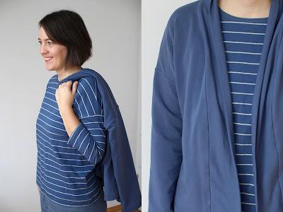 Nähen ohne Schnittmuster :: Schalkragenjacke & Shirt :: blau