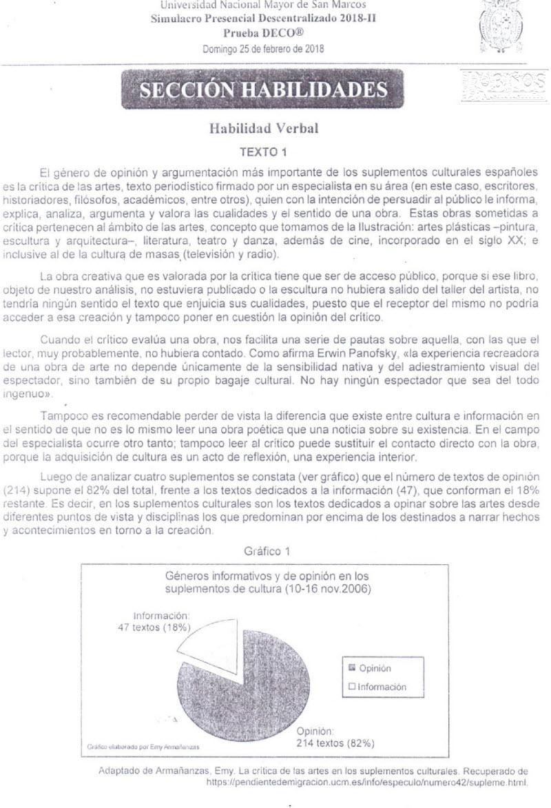 SOLUCIONARIO SIMULACRO PRESENCIAL DECENTRALIZADO SAN MARCOS DECO ...