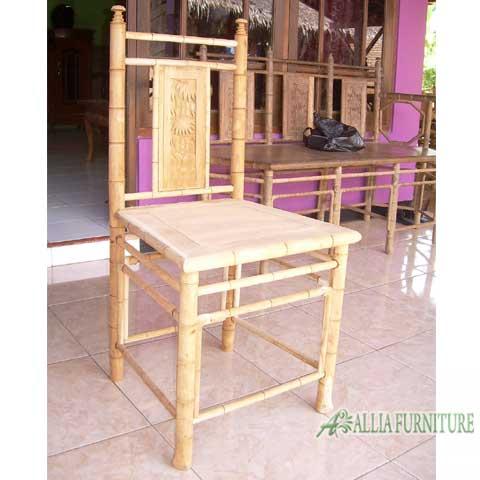 meja makan kayu jati ukiran bambu