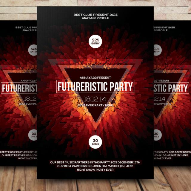 Hipster Party Flyers free vector & free psd